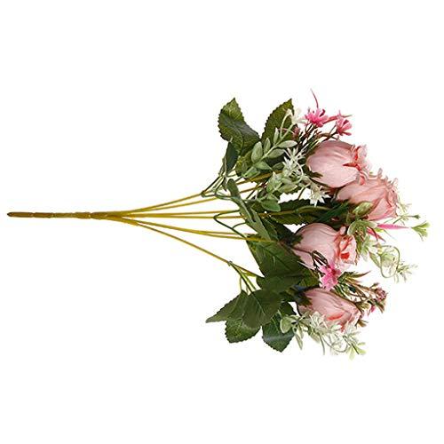 Mingtongli 2pcs Artificiales de Rose bonquet Falso Matrimonio Flor Adorno Floral Ornamento Inicio de Suministro