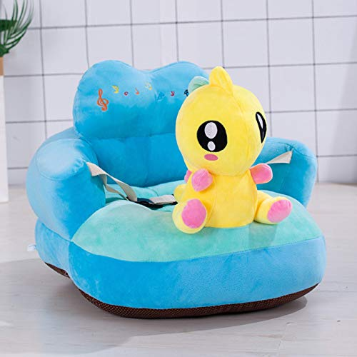 woyada Plush Baby Sofa,Cartoon Figure Anti-Skid Soft Floor Chair Toy with Backrest & Belt for Baby Learning to Sit