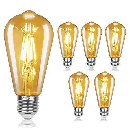 Bombilla de Filamento LED, Bombillas Retro Vintage E27, ST64 Bombilla Edison LED, 4W Bombilla LED Vintage, 220V-240V, Lámpara de Vidrio Retro Bombilla Decorativa para el Hogar, Cafe, Bar, Navidad