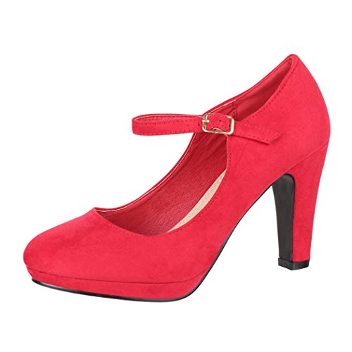 Elara Zapatos de Tacón Alto Mujer Correa Vintage Chunkyrayan Rojo BL692-PM Red-38