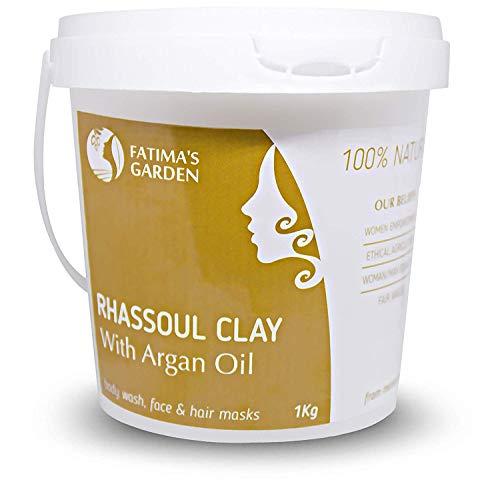 Ghassoul en poudre par Fatima's Garden - Marocain 100% naturel enrichi à l'huile d'Argan et Eucalyptus pour visage, cheveux & Hammam - Purifiant pour la peau; Végan sans cruauté-1kg