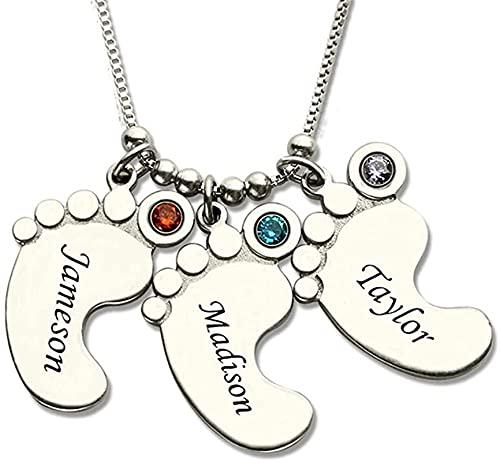 Lakabara - Collar con colgante de plata de ley 925 para mujer, pie de bebé, con piedra de nacimiento, 1 nombre y 2 nombres y 3 nombres y 4 nombres y 5 nombres Plata