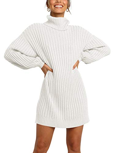 ANRABESS Women Cowl Neck Knit Korea Stretchable Long Sleeve Loose Fit White Oversized Sweater Dress a240bai-M