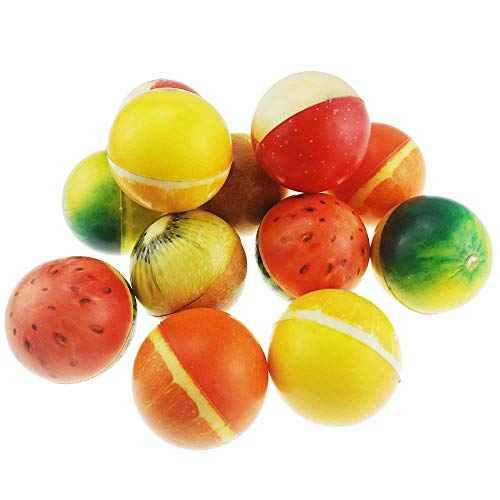 Great Features Of Set of 12 Sports 2.5″ Stress Balls – Includes Watermelon Ball, Kiwi Fruit Ball, Apple Ball, Orange Ball Squeeze Balls for Stress Relief, Party Favors, Ball Games and Prizes, Stocking Stuffers