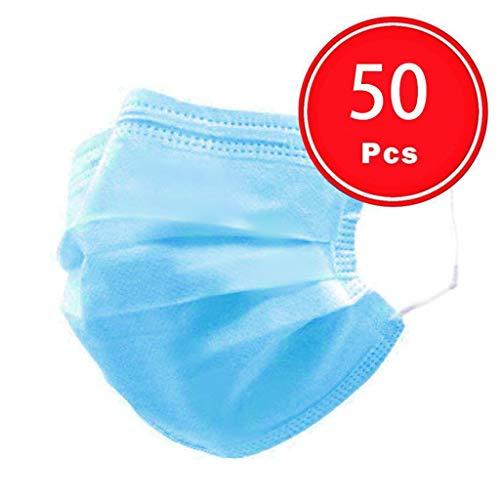 Cebbay 50/100 Stück Einweg Atmungsaktive Filter, 3 Schichten, Gesichts Mund, Staub Winddicht Anti Haze, komfortable