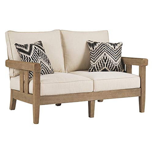 Signature Design by Ashley - Gerianne Outdoor Loveseat - Contemporary - Eucalyptus Wood Frame - Grayish Brown -  Ashley Furniture Industries, P805-835