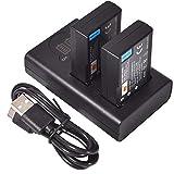 DSTE 2X EN-EL9 Repuesto Batería + Cargador USB Dual con Pantalla LCD Compatible para Nikon ENEL9 EN-EL9A y Nikon D40 D40x D60 D3000 D5000 Digital Cámara