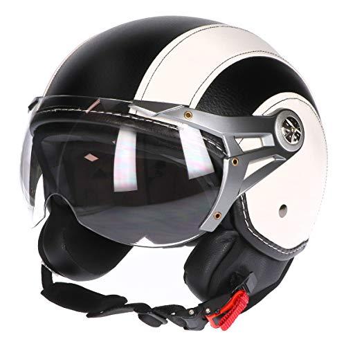 MT Soul Jet-Helm Motorrad-Helm Roller-Helm Scooter-Helm Bobber Mofa-Helm Chopper Retro Cruiser Vintage Pilot Biker ECE 22.05 (Kunstleder schwarz/weiß, S)