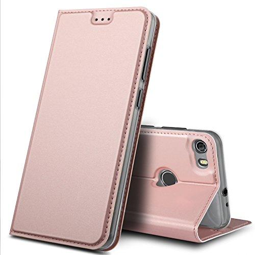 GeeMai Alcatel Idol 5 Hülle, Premium Flip Case Tasche Cover Hüllen mit Magnetverschluss [Standfunktion] Schutzhülle Handyhülle für Alcatel Idol 5 Smartphone, Rosegold