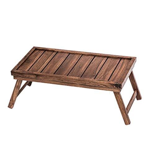 Mesa de cama, mesas pequeñas de madera maciza de madera maciza, mesa de tatami cuadrada, muebles de sala de estar, mesa de extremo plegable de estilo japonés, 2 tamaños Mesa de centro Color: Madera, T