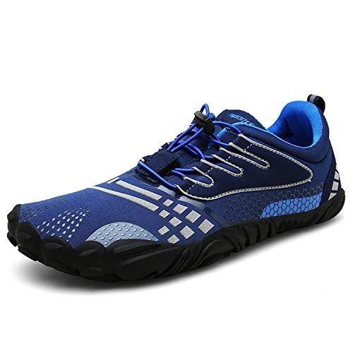 FOGOIN Barfußschuhe Fitnessschuhe Herren Damen Laufschuhe Trekking Schuhe Traillaufschuhe rutschfeste Schnell Trocknend Sportschuhe Gr40 Dunkelblau