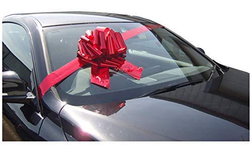 Riesige Autoschleife, 30,5 cm, mit 3 m langem Band, metallisch-rot