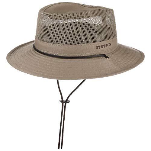 Stetson Takani Safarihut Damen/Herren - Hut aus 100% Baumwolle - Stoffhut mit UV-Schutz 30 - Sonnenhut mit Kinnband - Knautschbarer Netzeinsatz - Traveller beige M (56-57 cm)