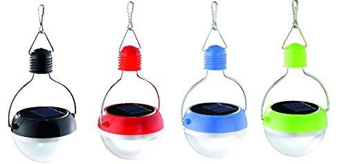 4er Set LED Solarlampe Solar Anhänger Hängelampe Hängeleuchte rot / blau / grün / schwarz Ø 7,3 cm 4x0,06W kaltweiss LED