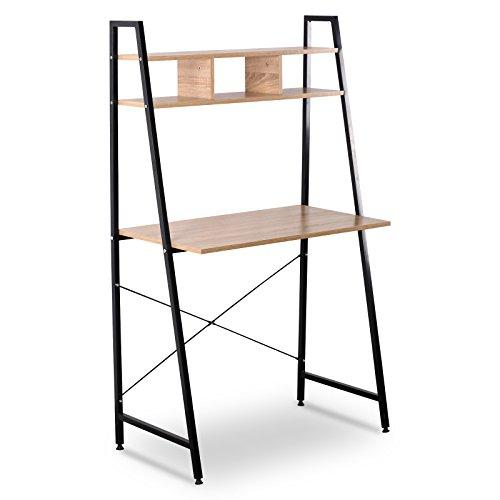 WOLTU TSB05hei Schreibtisch Computertisch Büromöbel PC Tisch Bürotisch Arbeitstisch aus Holz und Stahl, mit Ablage, ca, 84x46x140 cm