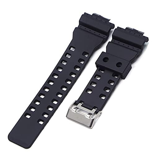 DealMux Bandas de reloj de caucho de silicona de 16 mm Correa de reloj apta para Casio G Shock Reemplazo Negro Impermeable Correa de reloj Accesorios para hombres (Color de banda: Negro, Ancho de ban