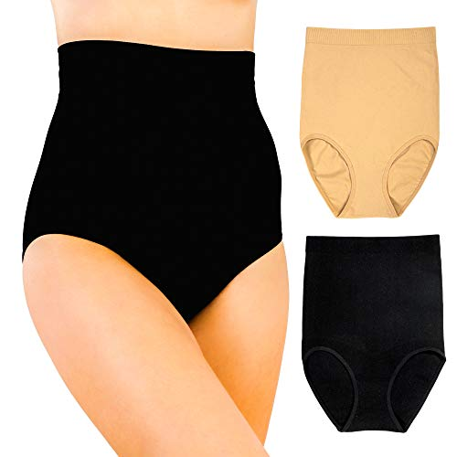 Alyce Intimates Womens Tummy Control Shapewear Seamless High-Waist Panty Body Shaper, 2 Pack