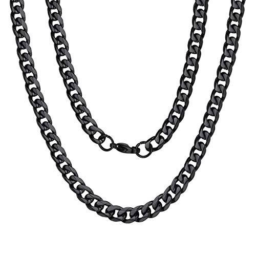ChainsPro Miami Curb Chain Men Cuban Link Chain Necklace Rocker Chain Black Tone 18 inch Black Choker Necklace for Women 45cm