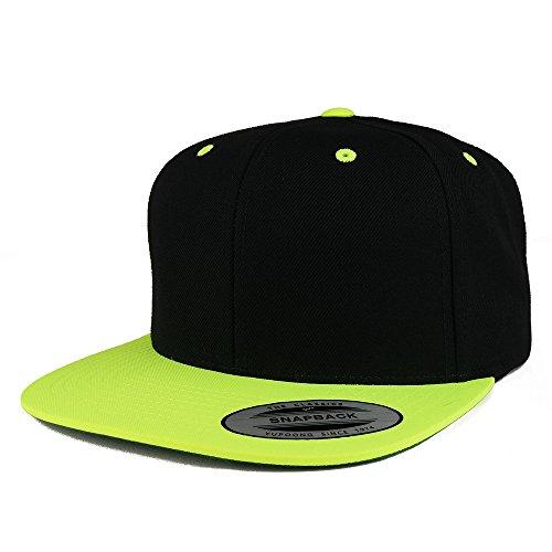 Trendy Apparel Shop Flexfit Brand Premium Two Tone Classic Flatbill Snapback Cap - Black Green
