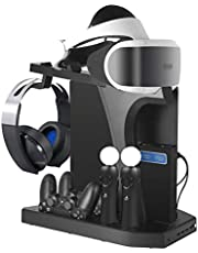 HPH Supporto Verticale Multifunzione per PS4, Slim, PRO, PSVR, PSVR2, Stazione di Ricarica, Ventola di Raffreddamento, Supporto per Cuffie PSVR Move Accessori
