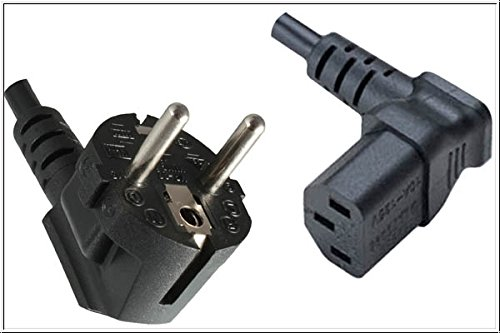 DINIC Stromkabel, Netzkabel CEE 7/7 auf C13 90 Grad abgewinkelt, 3-polig (3,00m, Oben gewinkelt, schwarz)