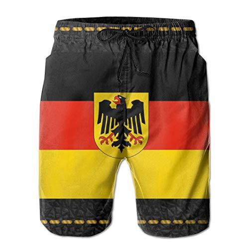 Zhengzho Herren Badehose Deutschland Flagge mit Wappen Surfing Beach Board Shorts Badebekleidung