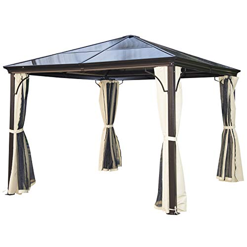Outsunny 10' x 10' Aluminum Frame Patio Gazebo Canopy with Polycarbonate Hardtop Roof, Mesh Net Curtains, & Durability