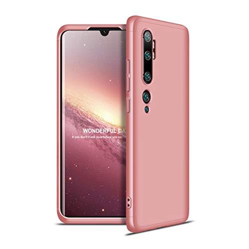 Yoodi Capa para Xiaomi Mi Note 10, capa Mi Note 10 Pro, capa Mi CC9 Pro, capa de proteção de cobertura total de 360 graus, capa fosca de policarbonato rígido destacável 3 em 1, película antiarranhões à prova de choque - ouro rosa