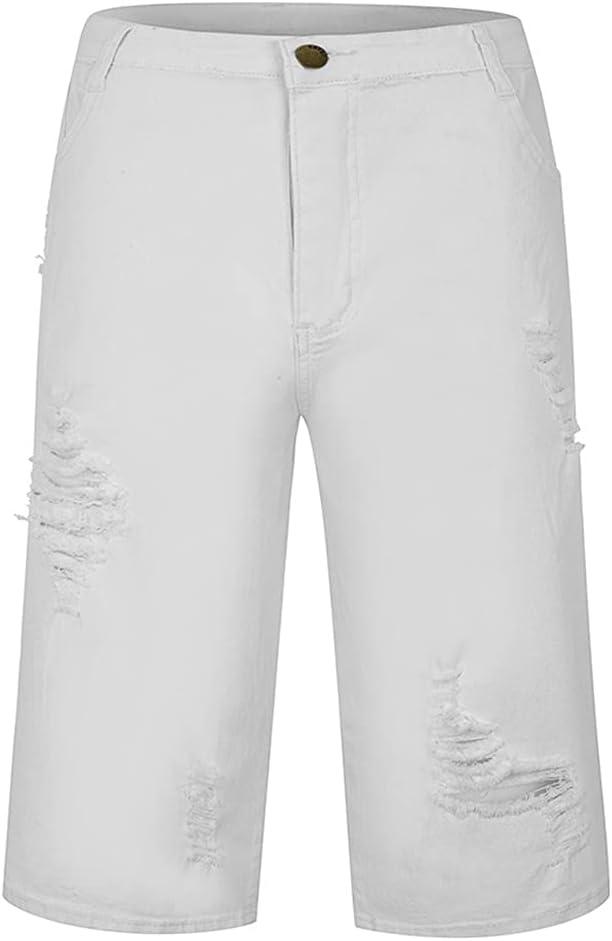 WoJogom Men Broken Hole Cowboy Shorts Stretchy Ripped Skinny Embroidery Print Casual Jeans 2021 Pure Color Cartoon Slim Denim Short