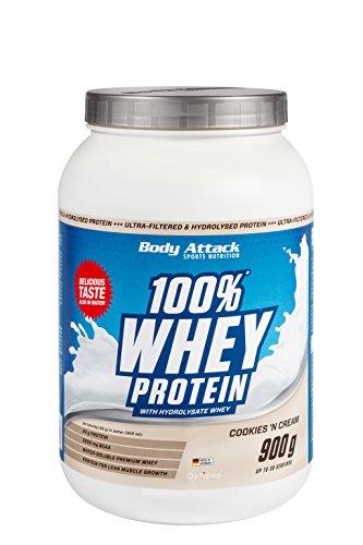Body Attack 100% Whey Protein, Cookies n Cream, 900 g Dose Eiweißpulver