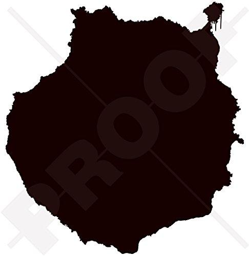 Gran Canaria kartform, kanariaöarna Spanien, Islas Canarias silhuett 115 mm (4,5 tum) vinyl stötfångare fönsterdekal – välj mellan 22 färger