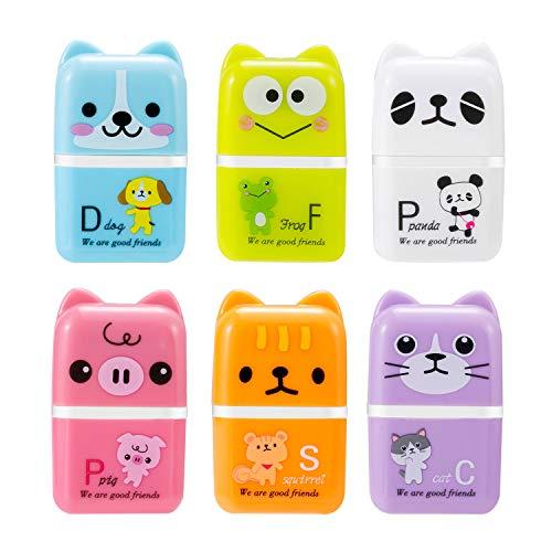 6 gomas de borrar de lápices de colores, con forma de animal, ideal como regalo para niños, escuela, casa, oficina, bocetos, pinturas.