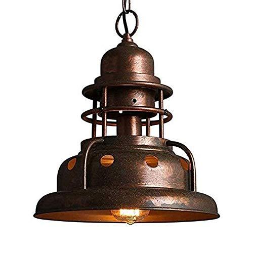 COCNI Candelabros de Dormitorio Minimalistas posmodernos Lámpara Colgante de Metal antioxidante Industrial Lámpara Colgante de Hierro Redonda nórdica Lámpara de Techo de Dormitorio de café