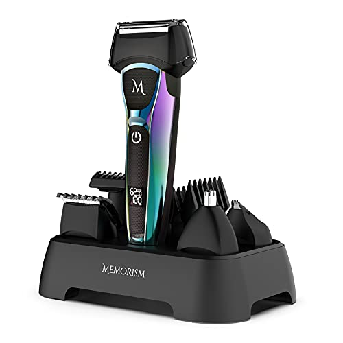 Memorism Multifunction Men's Grooming Kit - Foil Shaver 4-Attachment Body Hair, Nose, Beard Trimmer with Adjustable Guard Heights - Rechargeable with LED Display Blizz GS5 (Purple-Green Gradient)