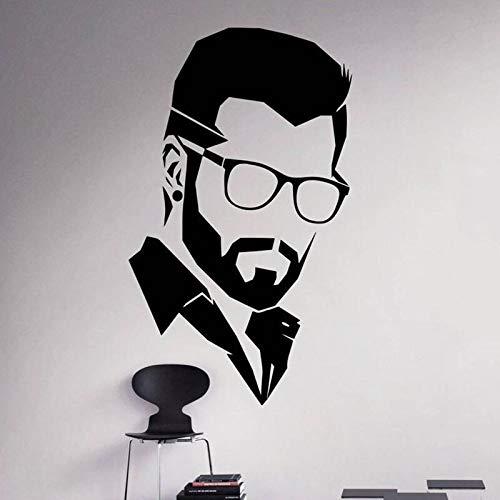 Vcnhln Gentleman Wandtattoos Trendige Haarschnitt Friseur Türen und Fenster Vinyl Aufkleber Mode Brille Menschen Höhle Schlafzimmer Künstler Home Decoration42cmX70