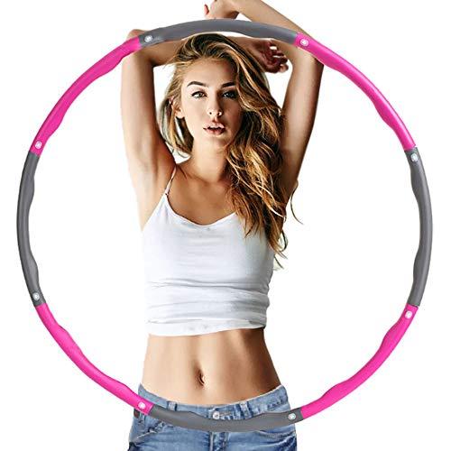 TOKYMOON Hula Hoop Reifen, Erwachsene Reifen 8 Abschnitt Abnehmbares Design Einstellbar für Anfängermit Gymnastikreifen Zum Abnehmen Fitness Massage Hula-Hoop-Reifen für Fitness (Pink + Grau)