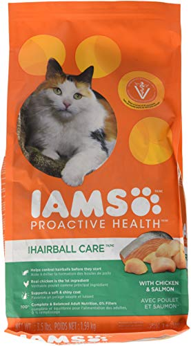 Iams Proactive Health Adult Hairball Care Dry Cat Food With Chicken And Salmon, 3.5 Lb. Bag