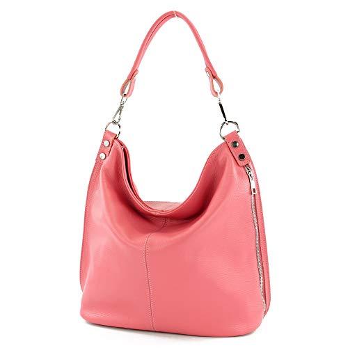 modamoda de bolsos de las mujeres/comprador Ital-damas-hombro bag-in-cuero-T177, Color:chicle de globo