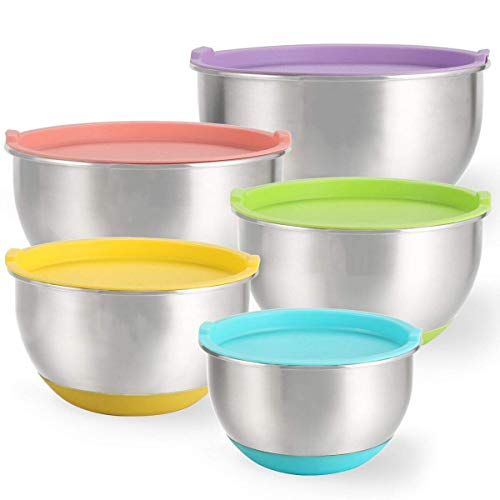 Mixing Bowls Set of 5, Raking Stainless Steel Nesting Mixing Bowls with Lids, Non-Slip Silicone Bottom, for Mixing & Beating, Stackable Storage