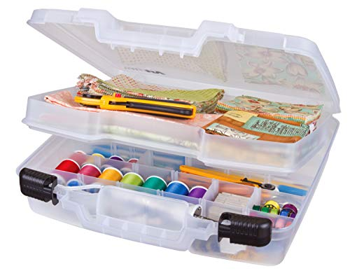 ArtBin Quick View Deep Base Carrying Removable Portable Art & Craft Organizer with Handle [1] Plastic Storage Case Translucent, 15 inch, Divided w/Tray