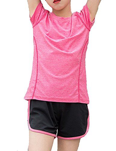 Echinodon Mädchen Sport-Set Schnelltrockend Shirt + Shorts Anzug für Yoga Jogging Training Rosa 140