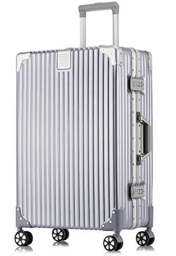 Langxj hj スーツケース キャリーバッグ アルミニウムマグネシウムフレーム 機内持ち込みスーツケース 預け入れスーツケース 自在車 キャスター 研磨加工のPCボディ TSAロック搭載5018 (S, シルバー)