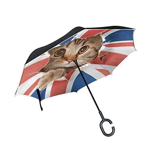 rodde tendedero para Lluvia Sombrillas para Exteriores Doble Capa a Prueba de Viento Invertida con manija en Forma de C Gato británico inverso