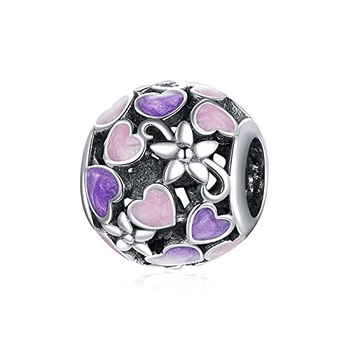 ZiFouDou Abalorio de Plata de Ley 925 para Pulsera Pandora Dijes Originales Charm - Perlas de Bola