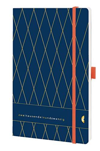 Chronoplan 50471 Buchkalender Kalendarium 2021, A5 Softcover, Wochenplaner (135x210mm, 1 Woche auf 2 Seiten), Vintage, Deep Ocean Blue