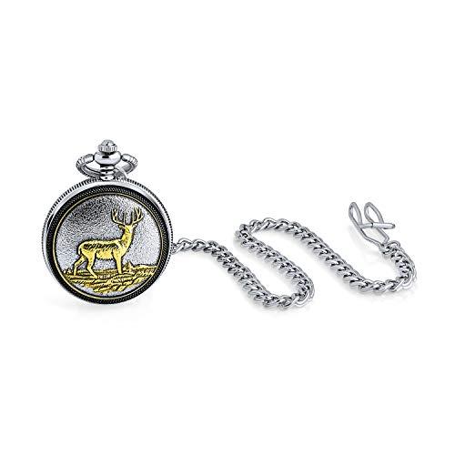 Dos Tonos Vintage Estilo al Aire Libre Hombres Caribou Elk Deer Hunter Reloj de Bolsillo de Reno para Hombres especuero Blanco Esqueleto Mate Oro Plateado Acabado con Cadena de Bolsillo Larga