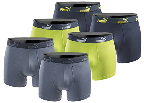 PUMA Boxershort 6er Pack Herren Basic Black Limited Edition - New Lime - Gr. XL