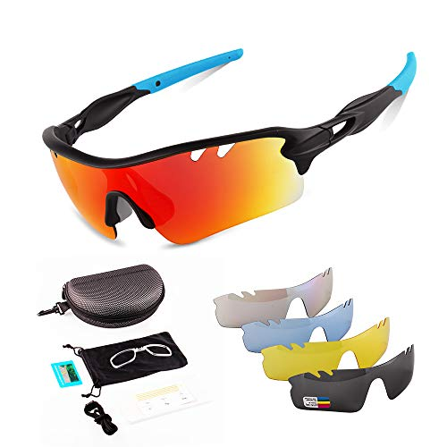 Toneoesol Polarized Sports Sunglasses for Men, with 5 Interchangeable Lenses for Cycling Running