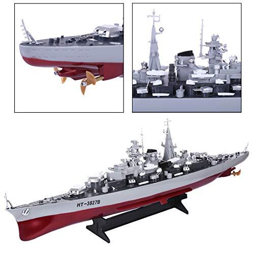 K9CK RC Boot 4WD Militär Schlachtschiff Fernsteuerung 2.4GHz 1/360 Speedboot Ferngesteuert Kriegsschiff Spielzeug Boot für Kinder