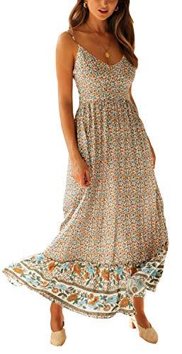 Longwu Vestido Maxi de Verano con Cuello en V Floral Sexy Boho de Las Mujeres Correa de Espagueti Ajustable sin Respaldo Cintura elástica Vestido de Verano Beige-XL